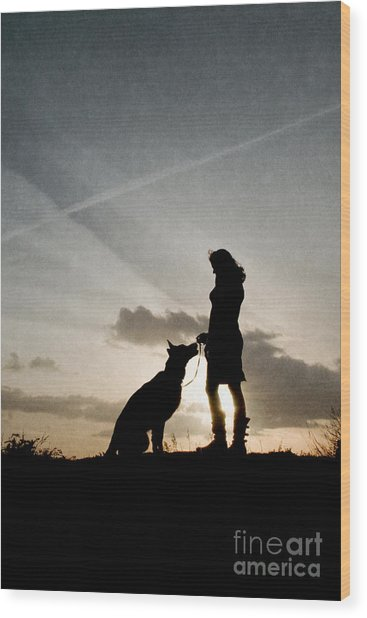 Woman And Dog  Wood Print