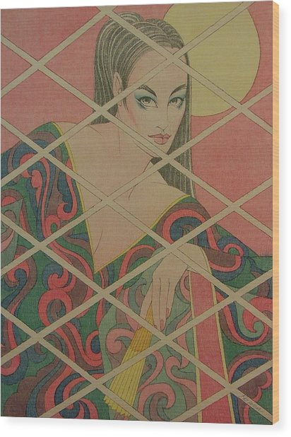 Woman And The Moon Wood Print by Gary Kaemmer