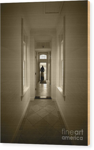 Woman At The Door Wood Print