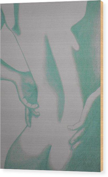 Woman Back Green Wood Print by Fanny Diaz
