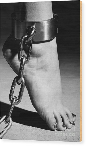 Woman Barefoot In Steel Cuffes Wood Print