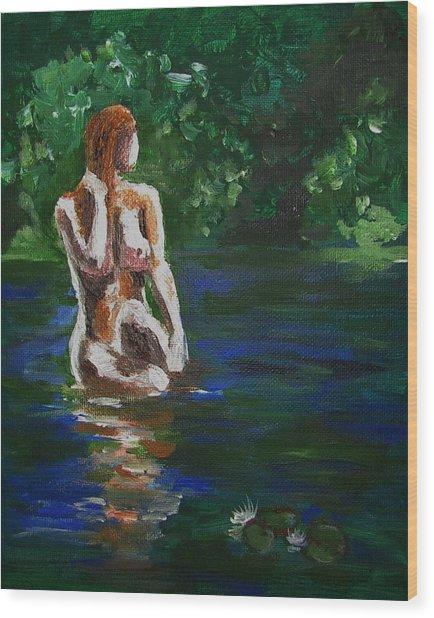 Woman Bathing In Lake Wood Print by Regina WARRINER