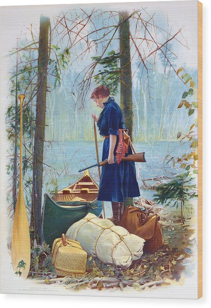 Woman Camper Cropped Wood Print
