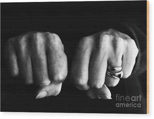 Woman Clenching Two Hands Into Fists In A Fit Of Aggression Wood Print by Sami Sarkis