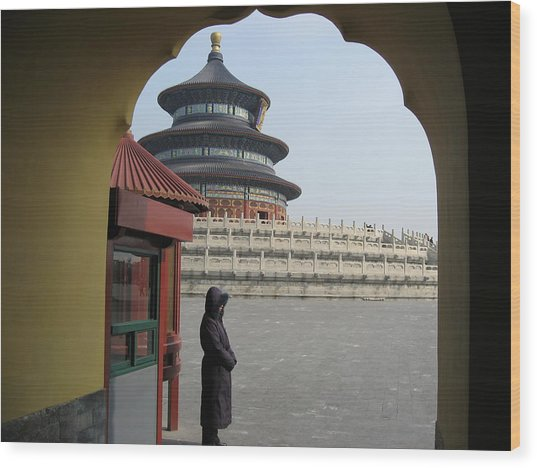 Woman Guarding The Temple Of Heaven Wood Print by James Lukashenko
