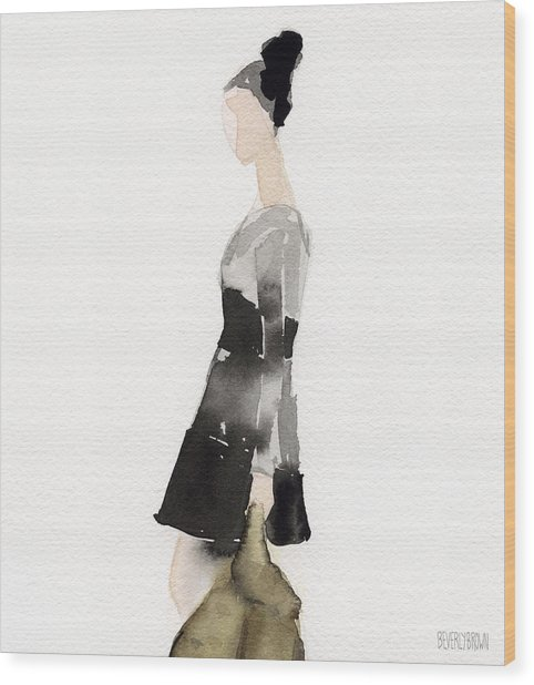 Woman In A Black And Gray Dress Fashion Illustration Art Print Wood Print