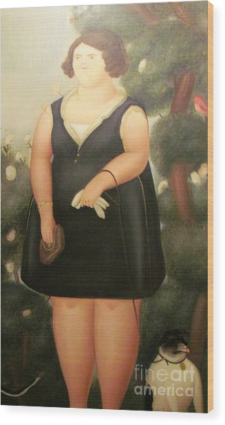 woman in Black Botero Wood Print