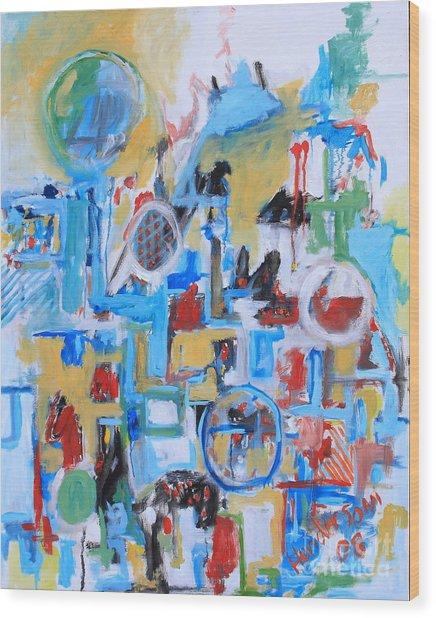 Woman In Blue Wood Print by Michael Henderson