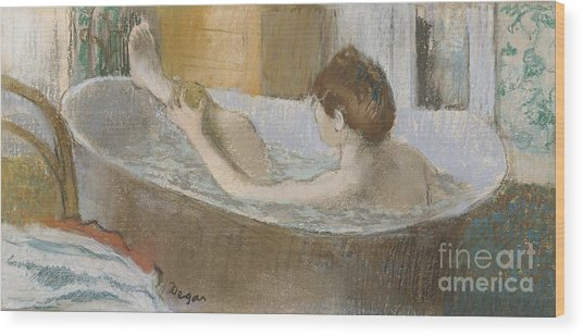 Woman In Her Bath Wood Print