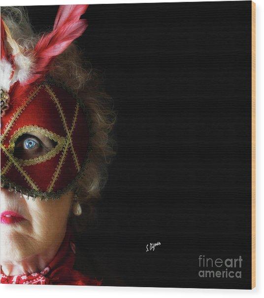 Woman In Mask  Wood Print by Steven Digman