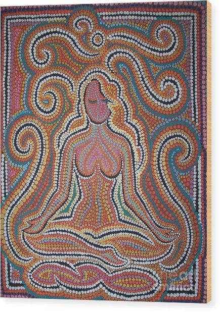 Woman In Meditative Bliss Wood Print by Carola Joyce