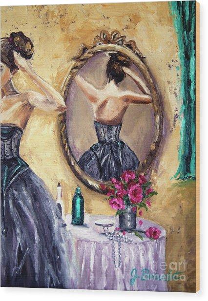 Woman In Mirror Wood Print