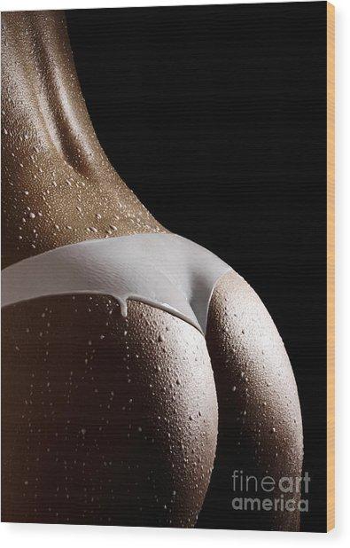 Woman In Panties Made Of Milk Wood Print