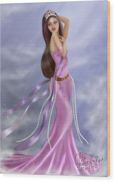 Woman In Pink Gown Wood Print