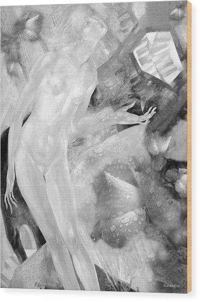Woman In Rain Wood Print by - Ziusutra