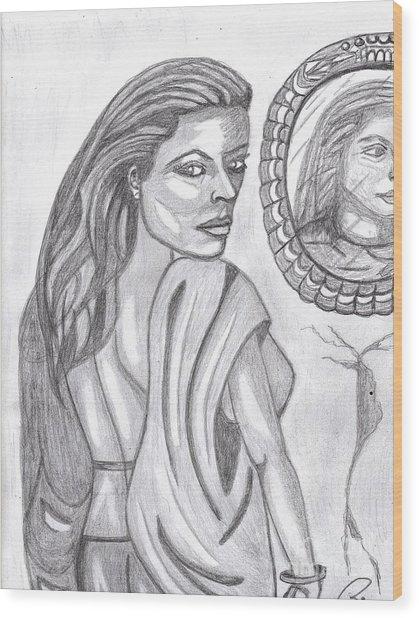 Woman In The Mirror Wood Print by Richard Heyman