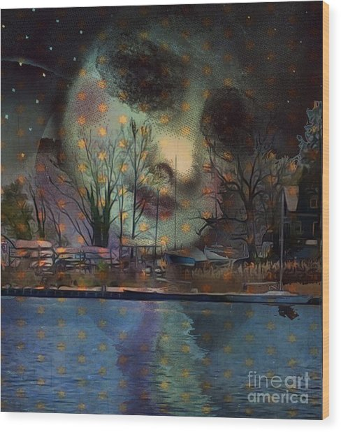 Woman In The Moon Wood Print