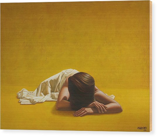 Woman In Yellow Wood Print