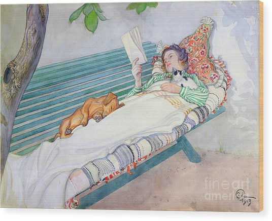 Woman Lying On A Bench Wood Print