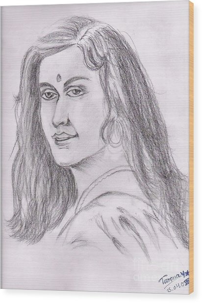 Woman Of India Wood Print by Tanmay Singh