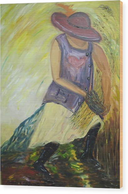 Woman Of Wheat Wood Print