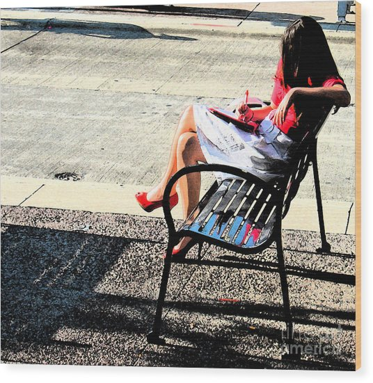Woman On A Bench Wood Print by Gary Everson