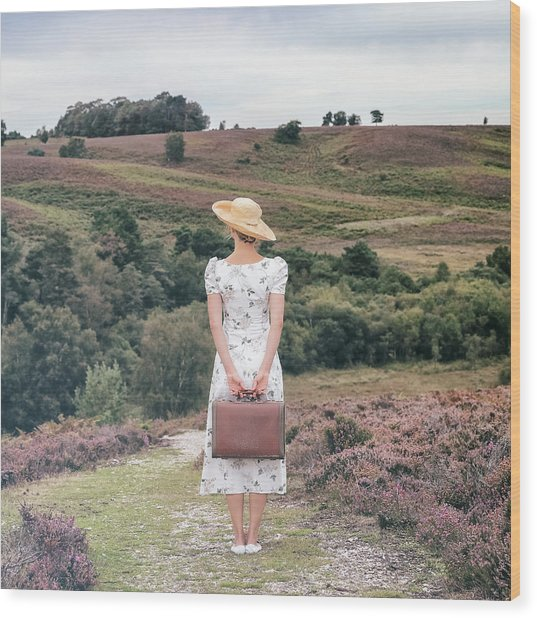Woman On A Hill Wood Print