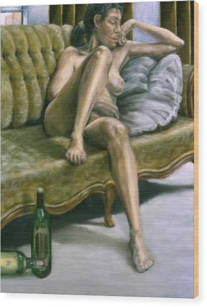 Woman On Green Sofa Wood Print by John Clum
