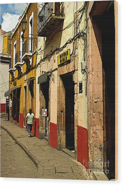 Woman On The Street Wood Print by Mexicolors Art Photography