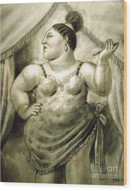 woman performer Botero Wood Print