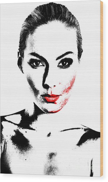 Woman Portrait In Art Look Wood Print