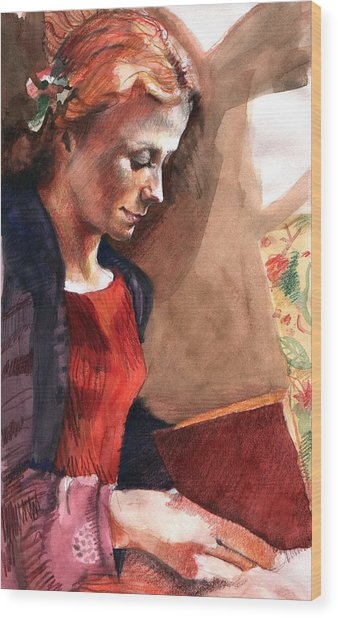 Woman Reading Wood Print