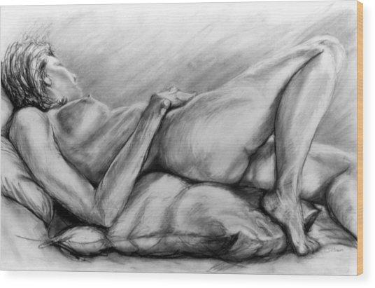 Woman Resting Wood Print by John Clum
