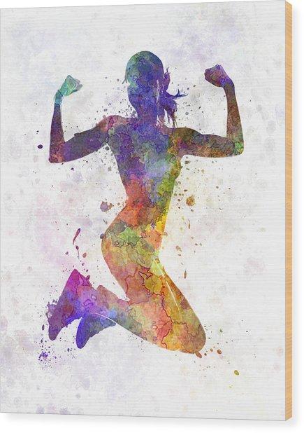 Woman Runner Jogger Jumping Powerful Wood Print