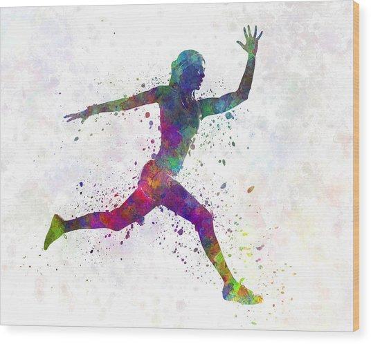 Woman Runner Running Jumping Wood Print