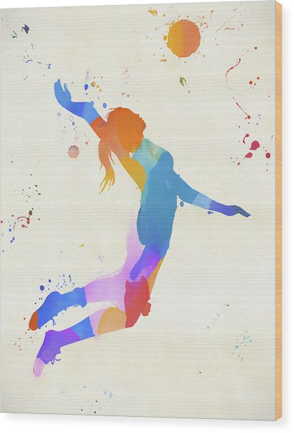 Woman Serving Volleyball Wood Print