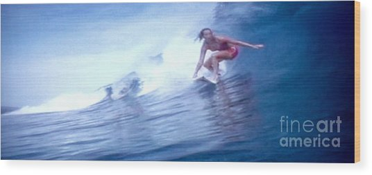 Woman Surfer Wood Print by Stanley Morganstein