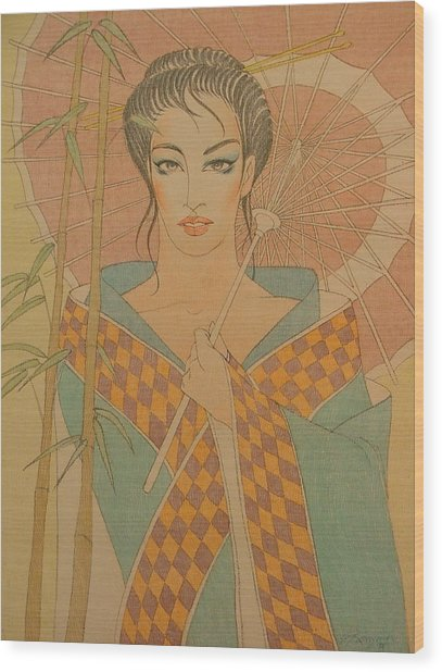 Woman Under The Bamboo Umbrella Wood Print by Gary Kaemmer