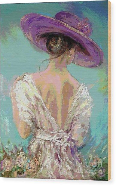 Woman Wearing A Purple Hat Wood Print