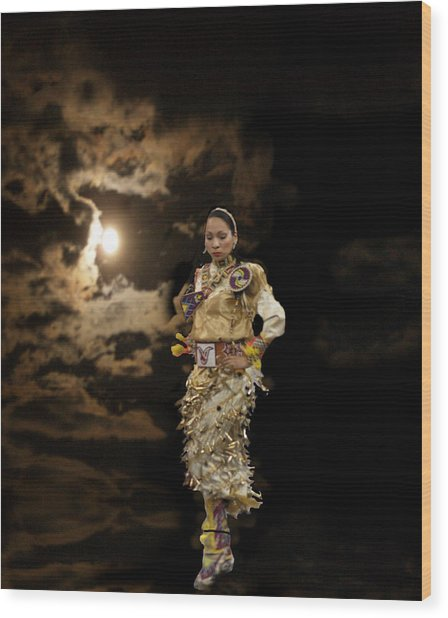 Woman Who Dances With Moon Wood Print