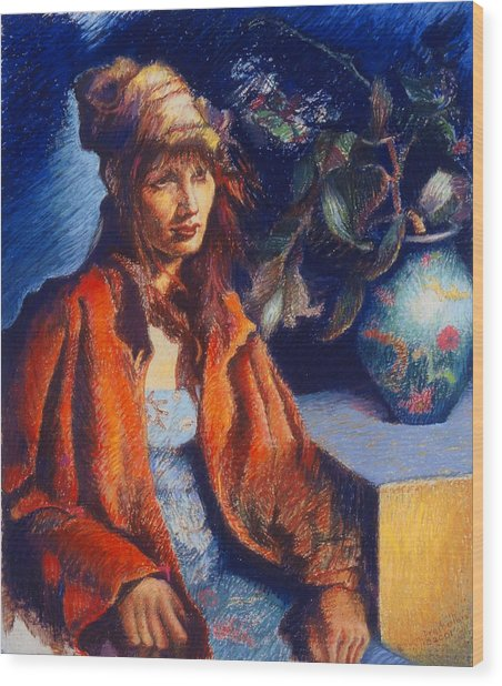 Woman With A Chinese Vase Wood Print