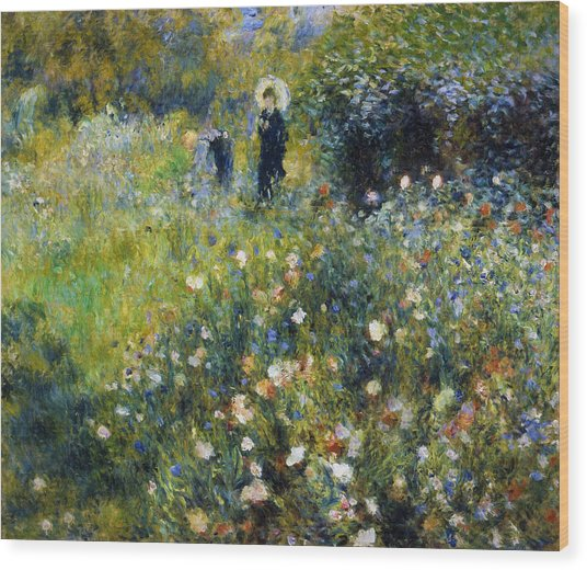 Woman With A Parasol After Renoir Wood Print