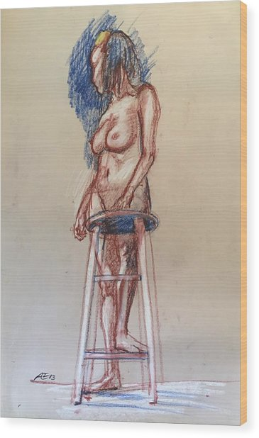 Woman With A Stool Wood Print by Alejandro Lopez-Tasso