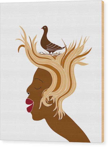 Woman With Bird Wood Print by Frank Tschakert