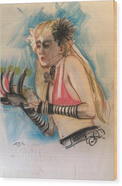 Woman With Black Flower Wood Print by Alejandro Lopez-Tasso