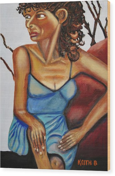 Woman With Curly Hair Wood Print by Keith Bagg