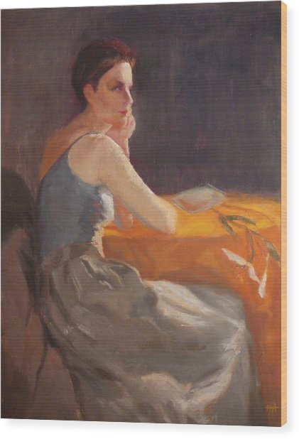 Sold Woman With Lily Wood Print by Irena  Jablonski