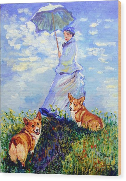 Woman With Parasol And Corgis After Monet Wood Print by Lyn Cook