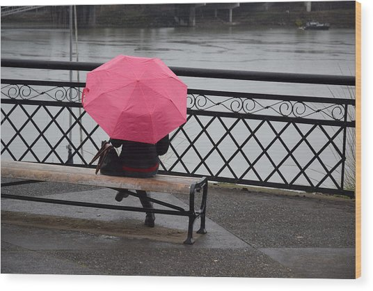 Woman With Pink Umbrella. Wood Print