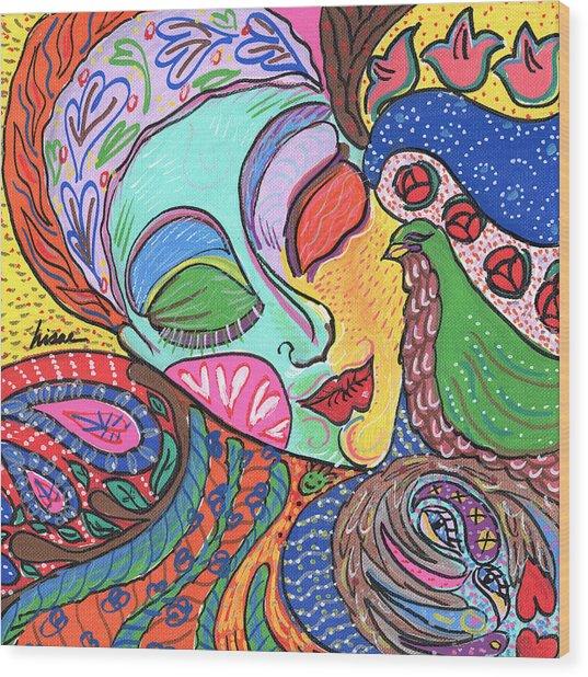 Woman With Scarf Wood Print by Sharon Nishihara